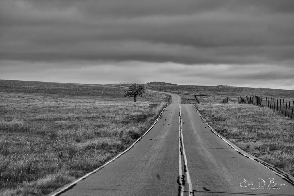 A road in the Wichita Mountains Wildlife Refuge near Lawton OK.