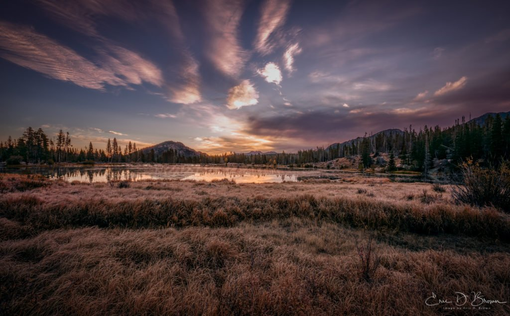 a photo of a sunrise over Sprague Lake, Colorado