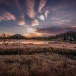 a photo of a sunrise over Sprague Lake, Colorado